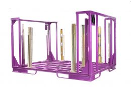 Special containers for front doors, handled in horizontal plastic rails and hold-down system